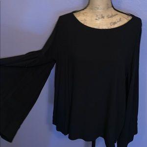 Ro&De black bell sleeve top shirt blouse XL